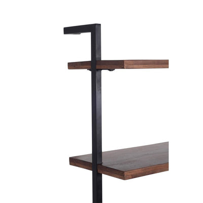 Industrial 3 Tier Mango Wood Ladder Storage Wall Shelf with Tubular Frame Brown and Black By The Urban Port UPT-197867