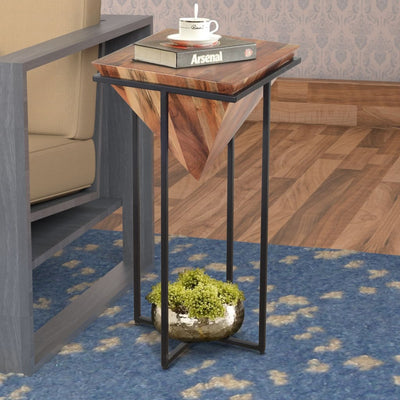 30 Inch Pyramid Shape Wooden Side Table With Cross Metal Base Brown and Black By The Urban Port UPT-197870