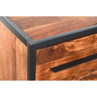 Handmade Dresser with Live Edge Design 4 Drawers Brown and Black By The Urban Port UPT-197872