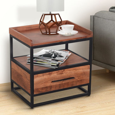 Handcrafted Industrial Metal End Table with Wooden Drawer, Brown and Black By The Urban Port