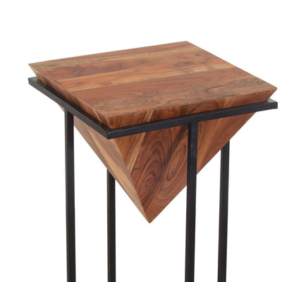 26 Inch Pyramid Shape Wooden Side Table With Cross Metal Base Brown and Black By The Urban Port UPT-199996
