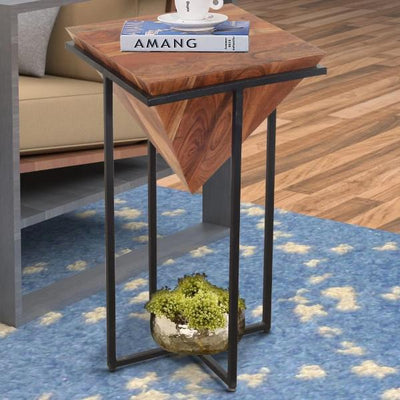 26 Inch Pyramid Shape Wooden Side Table With Cross Metal Base, Brown and Black By The Urban Port
