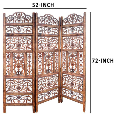 Handcrafted 3 Panel Mango Wood Screen with Cutout Filigree Carvings Brown UPT-200176