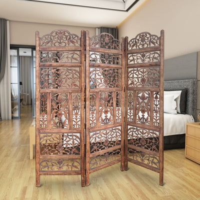 Handcrafted 3 Panel Mango Wood Screen with Cutout Filigree Carvings, Brown By The Urban Port