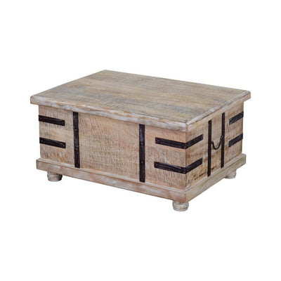 Farmhouse Mango Wood Lift Top Storage Coffee Table with Metal Inlays Brown and Black By The Urban Port UPT-204782