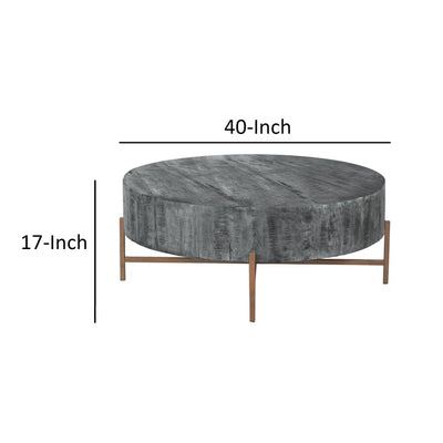 40 Inch Round Wooden Coffee Table with Cross Metal Base Support Gray and Brown By The Urban Port UPT-204784