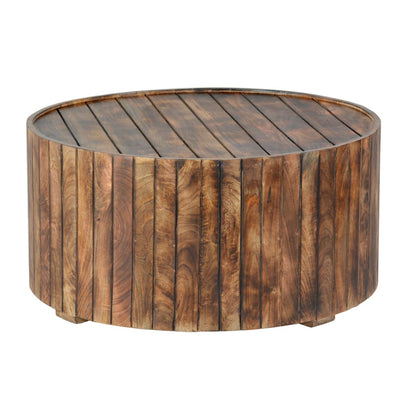 34 Inch Handmade Wooden Round Coffee Table with Plank Design Burned Brown By The Urban Port UPT-204785