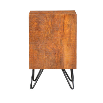22 Inch Textured Cube Shape Wooden Nightstand with Angular Legs Brown and Black By The Urban Port UPT-204787
