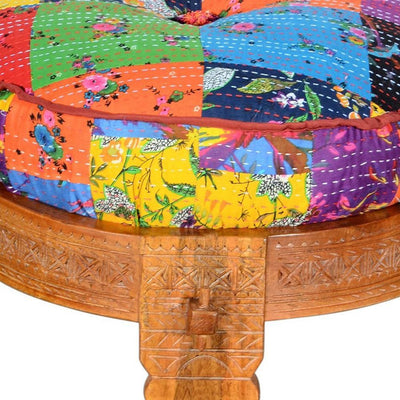 Round Mango Wood Sofa Side End Stool with Cushioned Top Multicolor By The Urban Port UPT-204789
