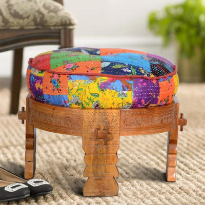 Round Bohemian Ottoman with Cushioned Top,Multicolor By The Urban Port