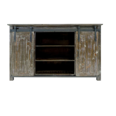 70 Inch Wooden Console with Barn Style Sliding Door Storage Distressed Brown UPT-205742