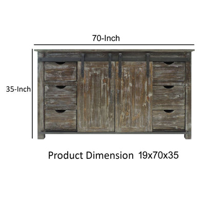 70 Inch Wooden Console with Barn Style Sliding Door Storage,Distressed Brown By The Urban Port UPT-205742