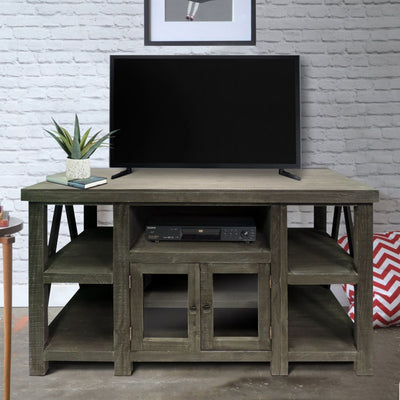 52 Inch Handmade Wooden TV Stand with 2 Glass Door Cabinet Distressed Gray UPT-205747