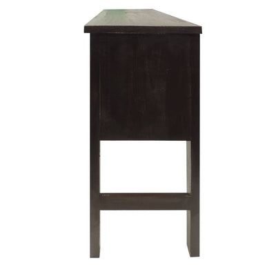 Rectangular Wooden Side Accent Table with Multiple Storage Slots Black By The Urban Port UPT-205748