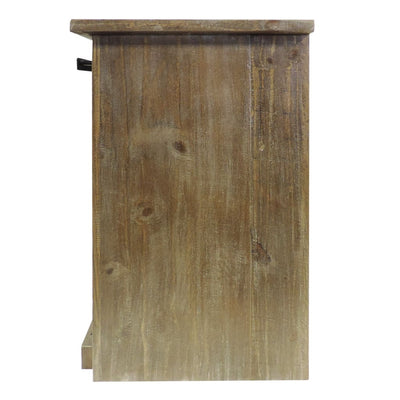3 Drawer Wooden Accent Chest with Sliding Barn Door Storage Ash Brown By The Urban Port UPT-205768