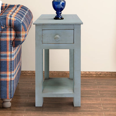 Rough Sawn Textured Wooden Side Accent Table With Drawer Blue UPT-205770