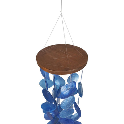 Aesthetically Designed Handmade Wind Chime with Capiz Shell Hangings Blue UPT-207779