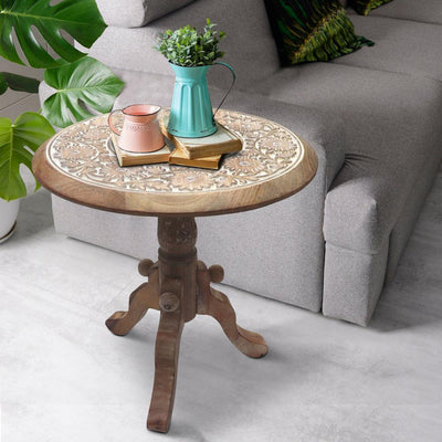 Intricately Carved Round Top Mango Wood Side End Table with Pedestal Base Brown and White By The Urban Port UPT-209567