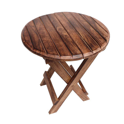Round Plank Style Portable Mango Wooden Picnic Table with Criss Cross Base Small Brown By The Urban Port UPT-209569