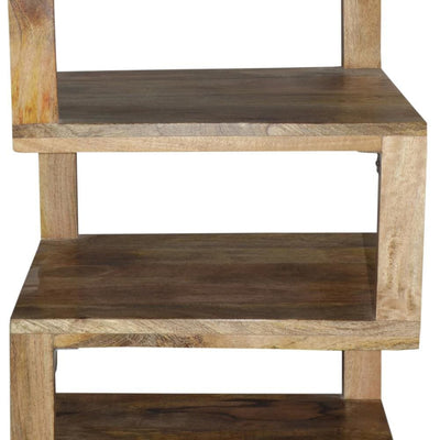 Etagere Stacked Cube Design Mango Wood End SideTable with 3 Shelves Brown By The Urban Port UPT-213130