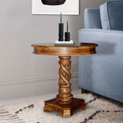 Round Mango Wood Table with Twisted Pedestal Base and Molded Top Walnut Brown By The Urban Port UPT-213134