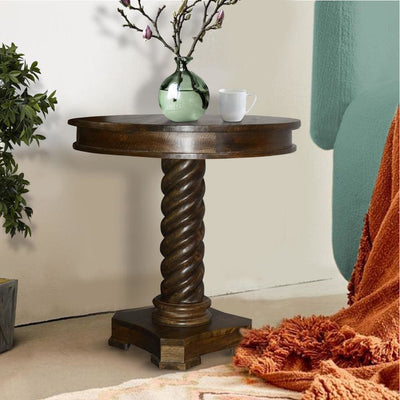 Round Mango Wood Table with Twisted Pedestal Base and Molded Top Dark Brown By The Urban Port UPT-213135