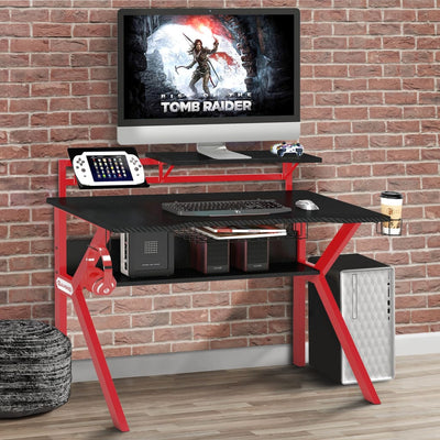PVC Coated Ergonomic Metal Frame Gaming Desk, Black and Red