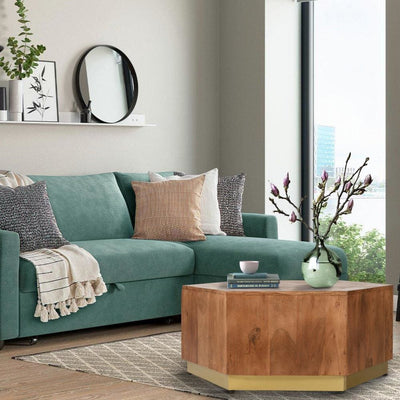 Hexagonal Acacia Wood Block Accent Coffee Table with Textured Detail Brown By The Urban Port UPT-215751