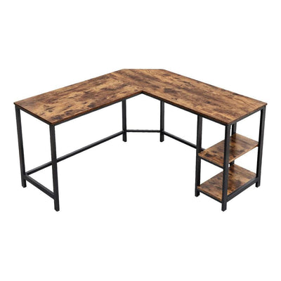 L Shape Wood and Metal Frame Computer Desk with 2 Shelves Brown and Black UPT-220582
