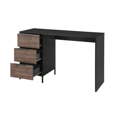Wooden Home Office Desk with 3 drawers and Open Leg Room Black and Brown By The Urban Port UPT-225261