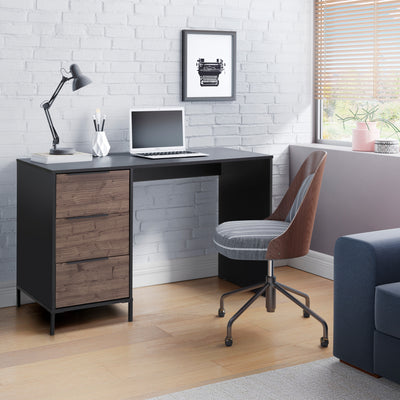 Wooden Home Office Desk with 3 drawers and Open Leg Room, Black and Brown By The Urban Port