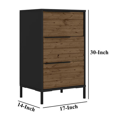Wood and Metal Office Accent Storage Cabinet with 3 Drawers Black and Brown By The Urban Port UPT-225262