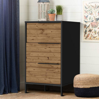 Wood and Metal Office Accent Storage Cabinet with 3 Drawers, Black and Brown By The Urban Port