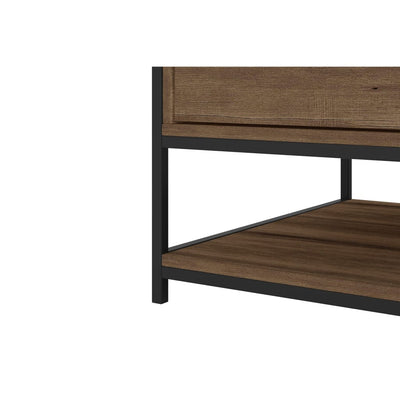 Wood and Metal Rectangular Coffee Table with Drawer and Shelf Brown and Black By The Urban Port UPT-225268