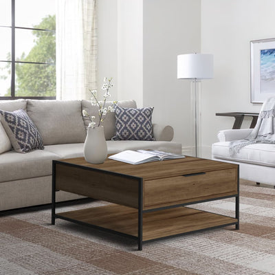 Wood and Metal Rectangular Coffee Table with Drawer and  Shelf, Brown and Black By The Urban Port