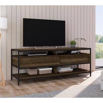 58 Wood and Metal Entertainmnet TV Stand with 2 Drawers Brown and Black By The Urban Port UPT-225269