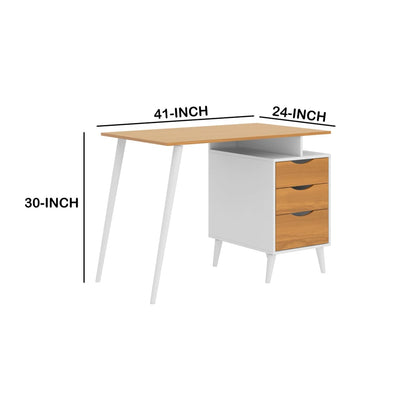 Wooden Office Computer Desk with Angled Legs & Attached File Cabinet White & Brown By The Urban Port UPT-225270