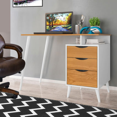 Wooden Office Computer Desk with Angled Legs & Attached File Cabinet, White & Brown By The Urban Port