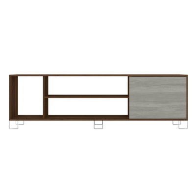 71 Wooden Entertainment TV Stand with 3 Open Compartments Brown and White By The Urban Port UPT-225271