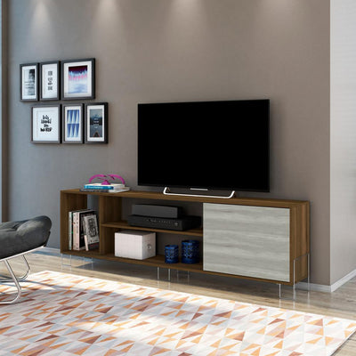 "71"" Wooden Entertainment TV Stand with 3 Open Compartments, Brown and White By The Urban Port"