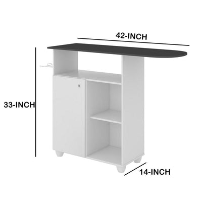 Wooden Ironing Board Storage cabinet with 3 Open Compartments White and Gray By The Urban Port UPT-225272