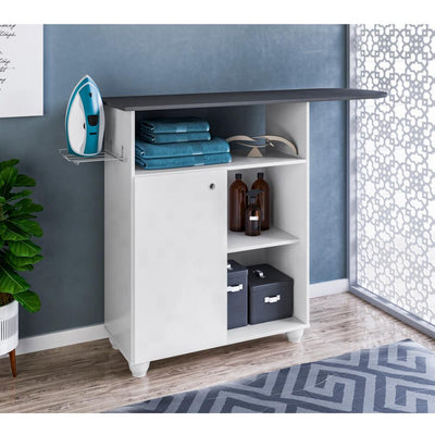 Wooden Ironing Board Storage cabinet with 3 Open Compartments, White and Gray By The Urban Port