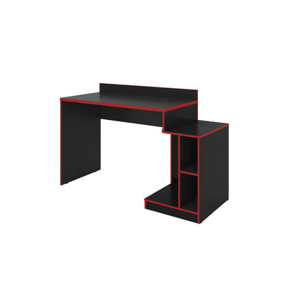 Wooden Rectangular Home Office Computer Gaming Desk Black and Red By The Urban Port UPT-225273