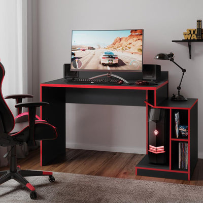 Wooden Rectangular Home Office Computer Gaming Desk, Black and Red By The Urban Port