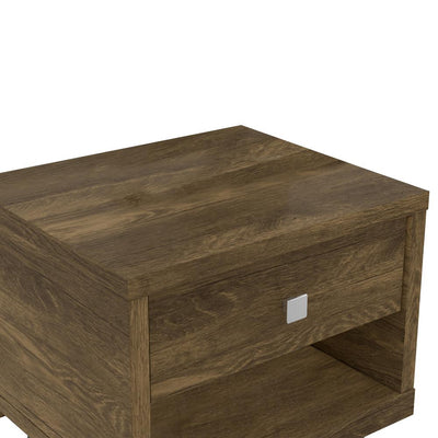 25 Wooden End Side Table Nightstand with Drawer & Splayed Legs Rustic Brown By The Urban Port UPT-225276