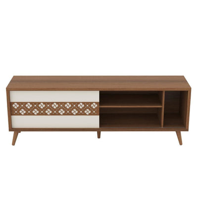 63 Door Wooden Entertainment TV Stand with 3 Open Compartments Brown By The Urban Port UPT-225280