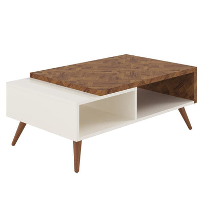 Two Tone Wooden Coffee Table with splayed legs & storage Shelf White and Brown By The Urban Port UPT-225283