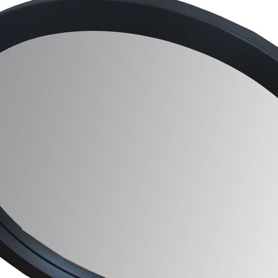 28 Round Wooden Floating Beveled Wall Mirror Black By The Urban Port UPT-226273