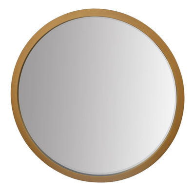 32 Round Wooden Frame Floating Wall Beveled Mirror Brown By The Urban Port UPT-226275