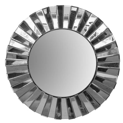 28 Round Floating Wall Mirror with Mirrored Frame Work Silver By The Urban Port UPT-226276
